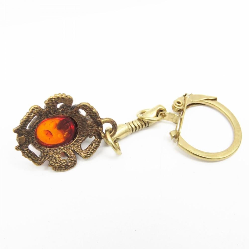 """Брелок для ключей """"Жук Скарабей"""" янтарь бронза 1355"""