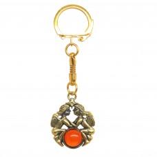 Брелок для ключей Блезнецы знак зодиака янтарь бронза 2415