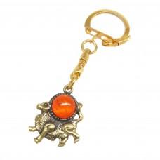 Брелок для ключей Телец знак зодиака янтарь бронза 2416