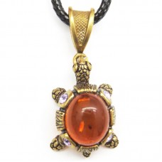 Кулон Черепаха малая янтарь бронза стразы 1388