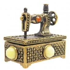 Игольница сундук Швейная машина янтарь молочный бронза 2323