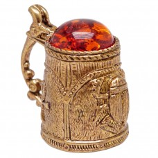 Напёрсток Кружка Скарабей (латунь, янтарь) 1169