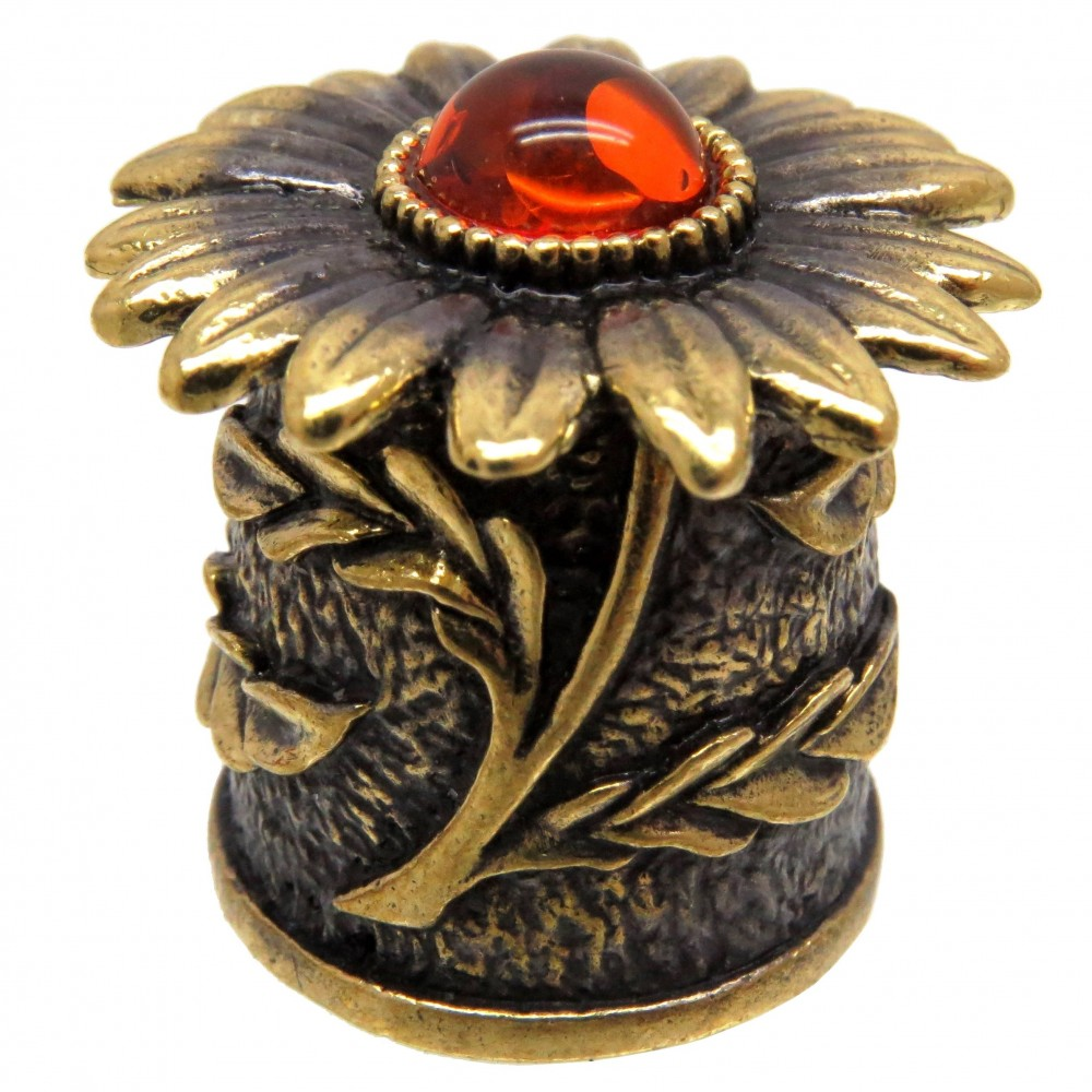 Напёрсток магнитный Хризантема янтарь бронза 2543