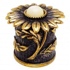 Напёрсток магнитный Хризантема янтарь молочный бронза 2543