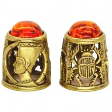 Напёрсток Нефертити Скарабей янтарь бронза