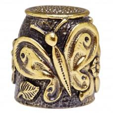 Наперсток Бабочка на цветах (латунь, бронза) 3110
