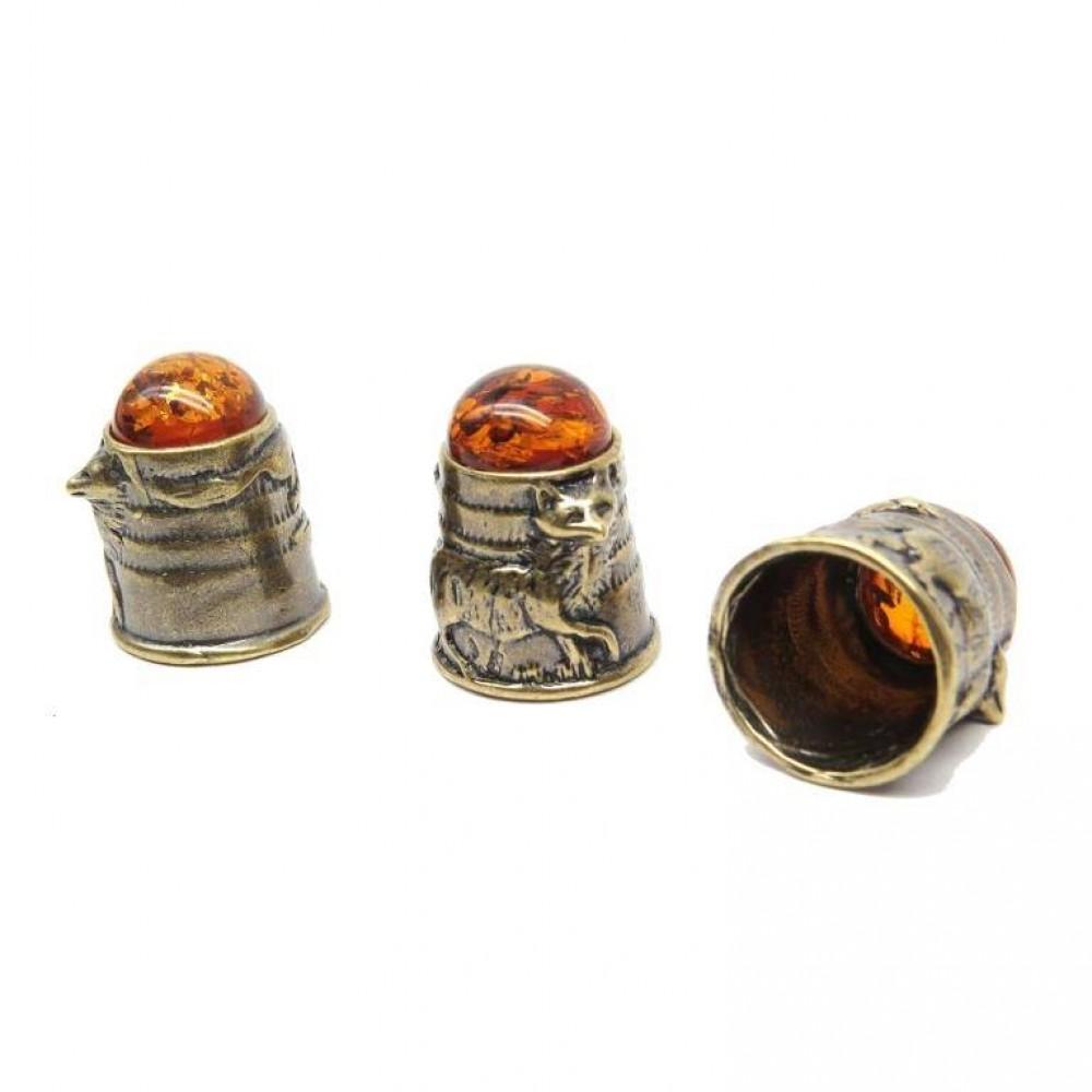 Напёрсток Лиса янтарь бронза 34