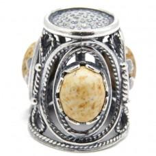 Напёрсток ажурный с камнем Яшма песочная 734