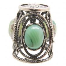 Напёрсток ажурный с камнем Агат зелёный посеребрение 734