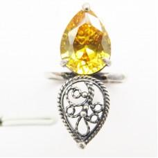 Кольцо ажурное Фианит цитрин посеребрение комплект 1265