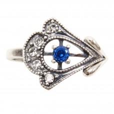 Кольцо фианит синий посеребрение 2216