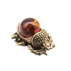 Миниатюрный Скарабей жук Янтарь коричневый бронза Кошельковый 507