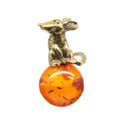 Миниатюрная Мышка Янтарь коричневый бронза Кошельковая 413