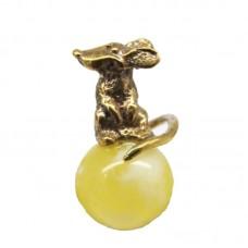 Миниатюрная Мышка Янтарь молочный бронза Кошельковая 413