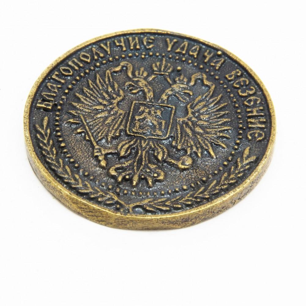Монета 1 счастливый рубль Герб бронза латунь 1748