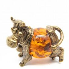 Буренка коровка фигурка миниатюра на янтаре 1218