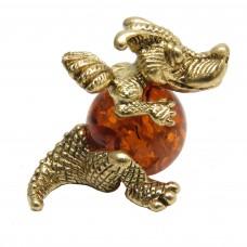 Фигурка Дракончик янтарь бронза 1604