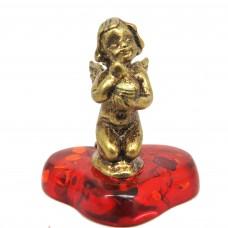 Фигурка Амур янтарь бронза стразы 386