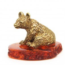 Фигурка Медвежонок Янтарь бронза 1416