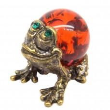 Фигурка Лягушунок янтарь бронза стразы 428