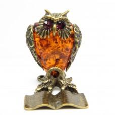 Фигурка Филин Учёный янтарь бронза 1489