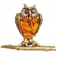 Фигурка Филин на ветке янтарь бронза 2222