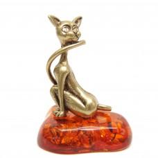 Фигурка Женщина Кошка янтарь бронза 2142