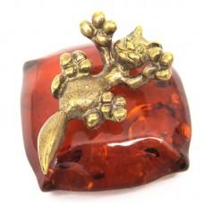 Фигурка Котёнок игривый на подушке янтарь бронза 536
