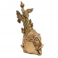 Колокольчик Ворона с рыбой бронза 2374