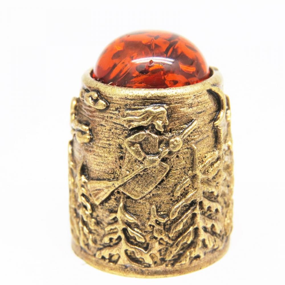 Напёрсток Баба Яга и Избушка на Курьих Ножках янтарь бронза 698
