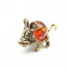 Миниатюрная Мышка ушастая Янтарь коричневый бронза Кошельковая 376